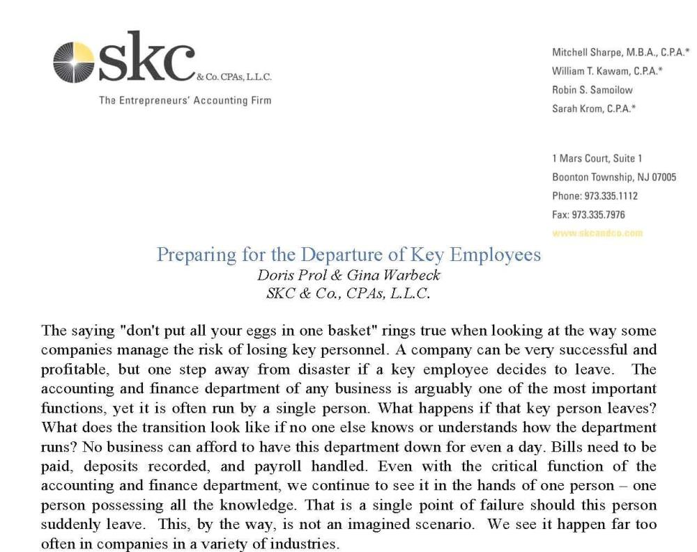 Preparing for the Departure of Key Employees