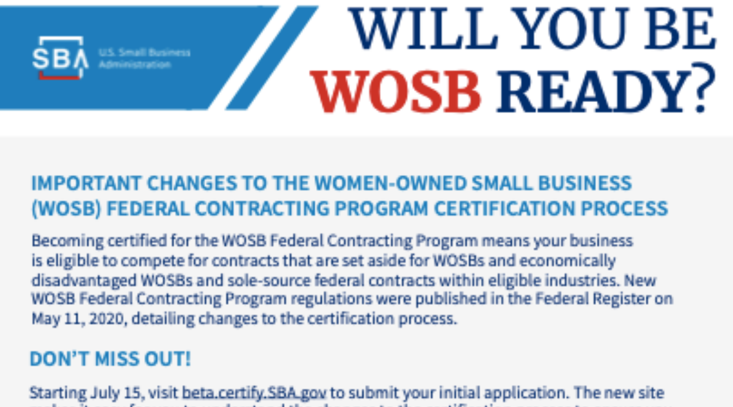 Women Owned Small Business Certification