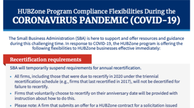 SBA HubZone COVID-19 Fact Sheet