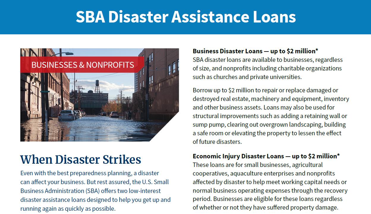 SBA Disaster Assistance Loans