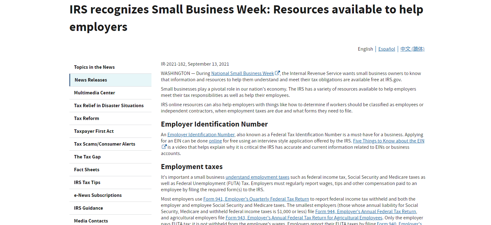 IRS: Resources Available to Help Employers
