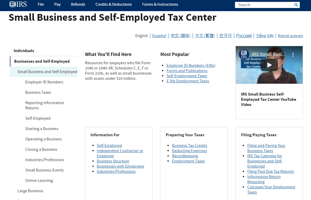 Small Business and Self-Employed Tax Center